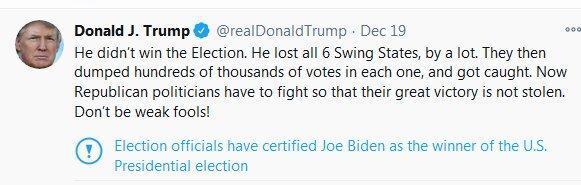 برچسب جدید توییتر: جو بایدن پیروز انتخابات است
